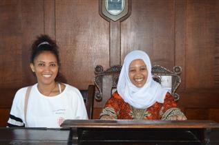 Photo of our guests sitting on historic Magistrates' Bench
